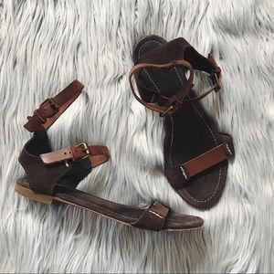 J. CREW Suede & Leather Ankle Gladiator Sandals